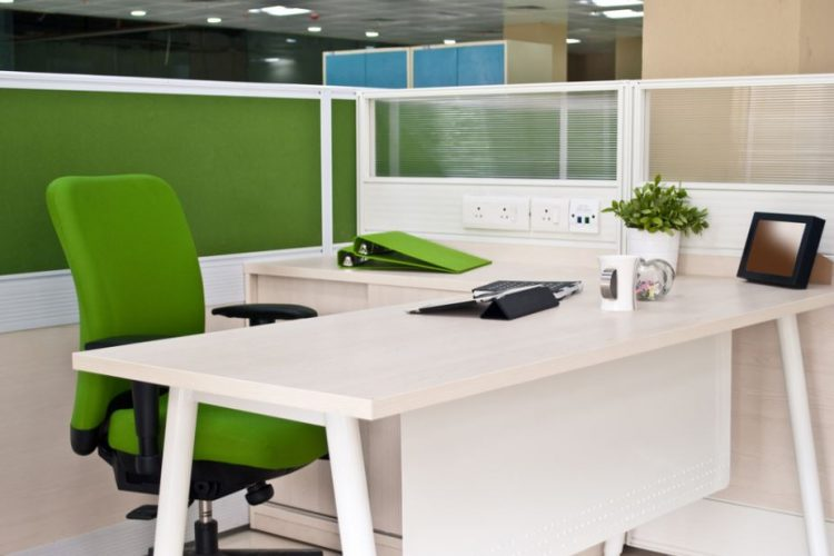 white cubicle green office chairs