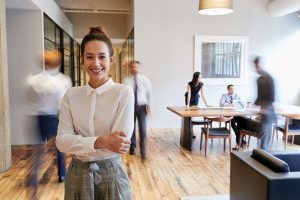 woman smiling at office